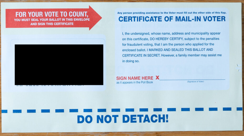 Certificate of Mail-in Voter