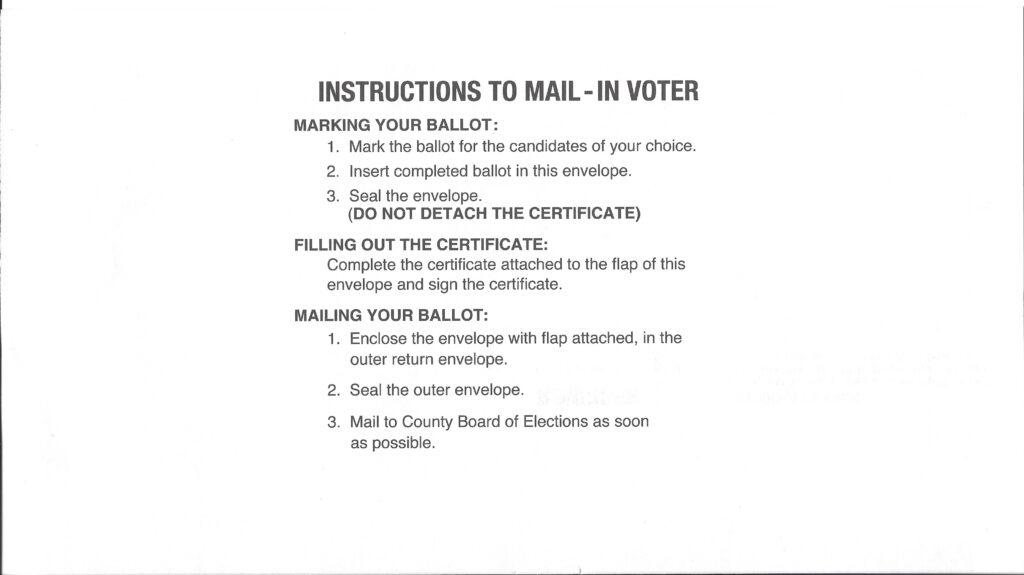 Instructions on reverse side of inner ballot envelope